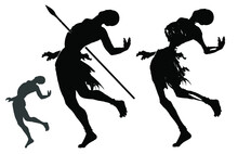 A Black Silhouette Of A Skinny, Almost Naked Native Shot Through The Back With A Spear, As Well As A Zombie Skeleton In The Same Pose. 2d Illustration