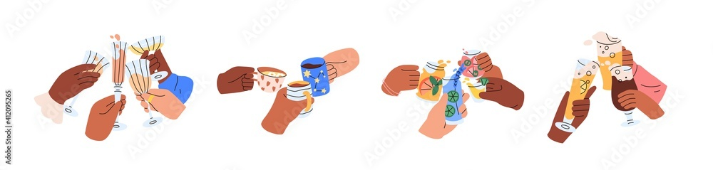 Fototapeta Friends hands holding glasses and mugs with champagne, wine, beer, cocktail and tea, and cheers or drinking toast to friendship. Colored graphic flat vector illustration isolated on white background
