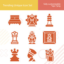 Simple Set Of Elizabeth I Related Filled Icons.