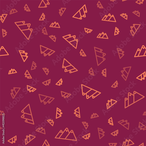 Brown line Mountains icon isolated seamless pattern on red background Fototapeta