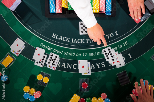 Canvas Print Casino Black Jack table