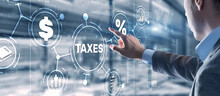 Concept Of Taxes Paid By Individuals And Corporations Such As VAT, Income Tax And Property Tax. Background For Your Business.