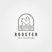 Rooster With Fence Line Art Logo Vector Emblem Illustration Design