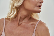 Neckline And Chin Of Middle Aged Caucasian Woman