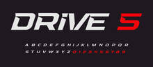 Drive Italic Alphabet. Car Race Vector Letters In Modern Sport Style. Stunning Font With Inside Spurs. Type For Modern Automotive Logo, Headline, Monogram, Fast Dynamic Lettering. Vector Typography