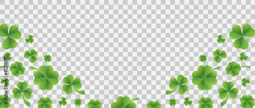 Fotografering Patrick day background with vector four-leaf clover pattern background