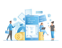 Vector People Use An Application,  Website Of Contactless Banking Services On Internet To Collect, Save, Transfer Funds, Money. Credit Card Is Tied To Smartphone.