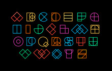 Colored Letters From Geometric Shapes, Decorative Font For Fantastic Headline Design, Linear Logo And Neon Sci-fi Lettering, Vector Alphabet.
