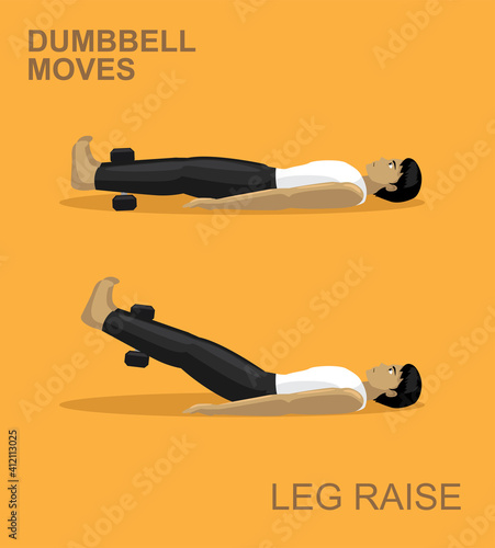 Canvas Print Leg Raise Dumbbell Moves Manga Gym Set Illustration