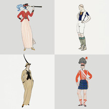 Vintage Woman Fashion Design Element Vector