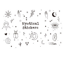 Digital Pack Containing Hand-draw Mystical Elements. Hand Drawn Design. Cute Vector Illustration Design.