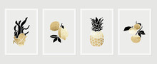 Fruits Wall Art Gold Background Vector.  Hand Drawn Tropical Fruit With Golden And Watercolor Texture. Vector Illustration For Prints, Wall Decoration, Wallpaper And Cover Design.