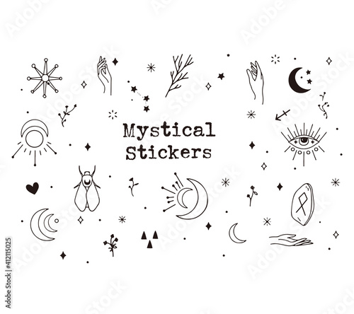 Fototapeta Digital pack containing hand-draw mystical elements. Hand drawn design. Cute Vector illustration design.	 obraz