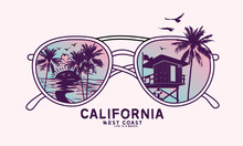 Beach Vibes Retro Sunglass Vector Artwork ,  California West Coast Long Beach Design For Apparel And Others