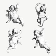 Vintage Cupid, Gods And Nude Woman Illustration Vector Set