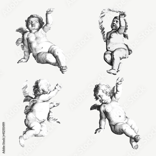 Vintage cupid, gods and nude woman illustration vector set Fototapeta