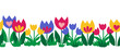 Seamless flower border isolated on white background. Hand drawn floral vector illustration child like tulips colorful repeating pattern for spring, Easter, card decor, fabric trim, footer, ribbons