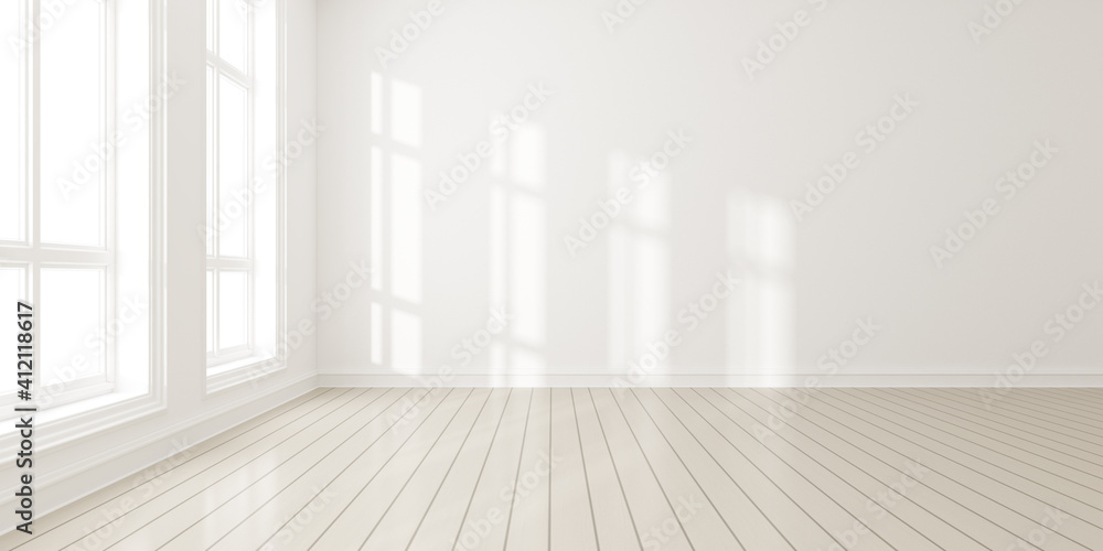 Fototapeta 3d render of modern empty room with wooden floor and large white plain wall.