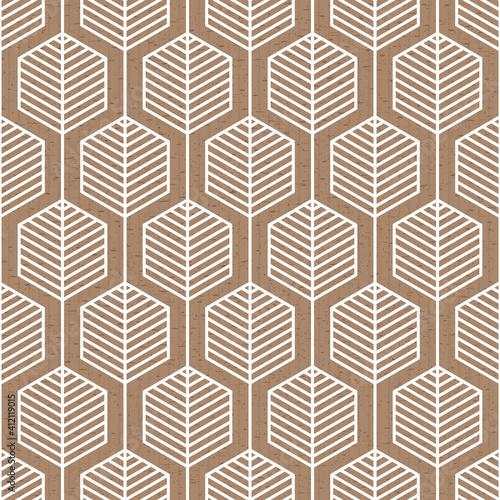 Fotografie, Obraz Scandinavian folk art seamless vector pattern with hexagons and lines in geometr