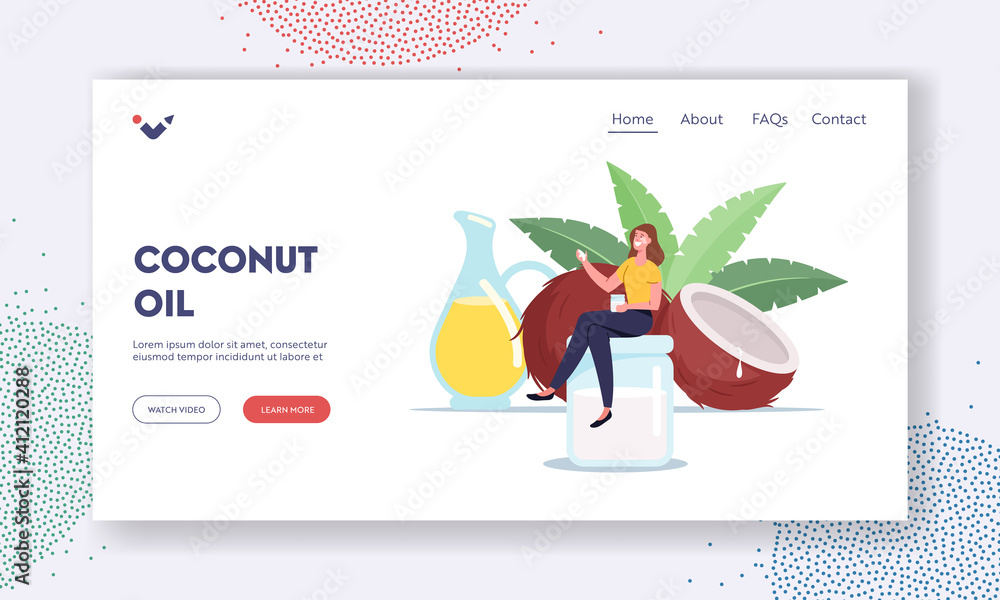 Fototapeta Woman Use Coconut Oil Landing Page Template. Tiny Female Character Sitting on Huge Glass Jar near Coco Nut