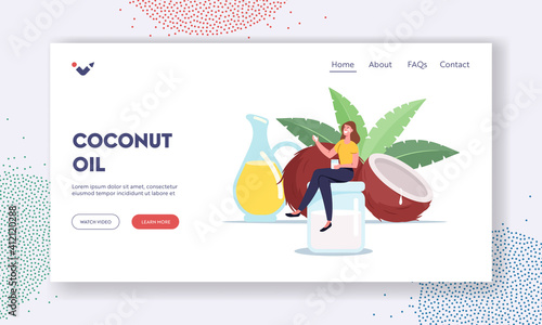 Fototapeta Woman Use Coconut Oil Landing Page Template. Tiny Female Character Sitting on Huge Glass Jar near Coco Nut obraz