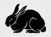 Vintage Rabbit Vector Animal Linocut Stencil Pattern Drawing