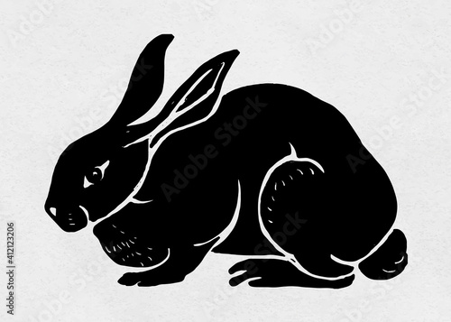 Slika na platnu Vintage rabbit vector animal linocut stencil pattern drawing