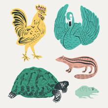 Vintage Animals Vector Stencil Pattern Collection