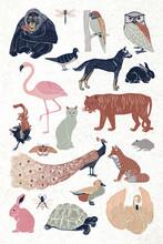 Vintage Wild Animals Vector Linocut Drawing Set