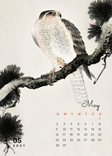 Calendar 2021 May Printable Template Vector Remix From Ohara Koson