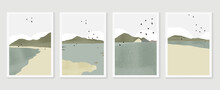 Mountain Background Wall Art Vector Set. Sunrise And Sunset With Fog In Mountains.  Earth Tones Landscapes Abstract Arts Wallpaper Design For Wall Framed Prints, Canvas Prints, Poster And Home Decor.