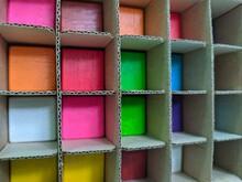Full Frame Shot Of Multi Colored Cardboard Rack