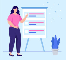 Female With Presentation Board. Flat Design Illustration. Vector
