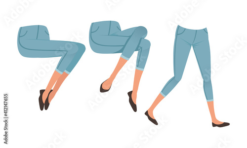Obraz Female Legs in Denim Breeches and Shoes in Various Poses Set, Girl Character Creation Detail Cartoon Vector Illustration - fototapety do salonu