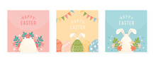 Collection Of Happy Easter Greeting Cards. Set Of Posters For Holiday. Decorated Egg With Various Ornaments, Blooming Spring Flowers, Leaves And Bunny Rabbit Ears. Template Design. Vector Illustration
