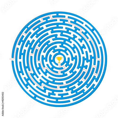 Labyrinth game. Circle maze puzzle. Find the right way, path or solution. Vector illustration. Wall mural