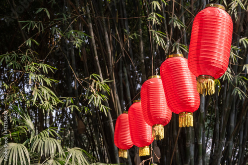 Cuadros en Lienzo Red chinese lanterns hanging in a park with bamboos in the background