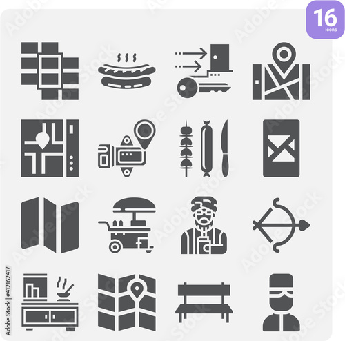 Fotografie, Obraz Simple set of avenue related filled icons.