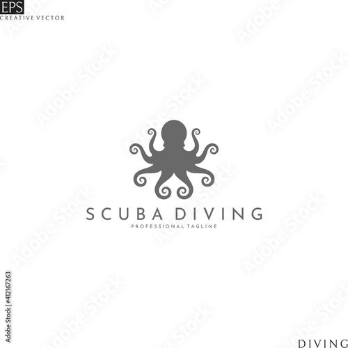 Obraz na plátně Abstract octopus. Scuba diving logo