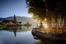 The Warmth Morning Light At Pura Ulun Danu Bratan In The Sunrise Time, Famous Hindu Temple And Tourist Attraction In Bali, Indonesia.