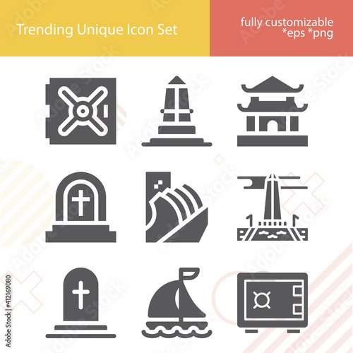 Simple set of burial chamber related filled icons. Fototapet