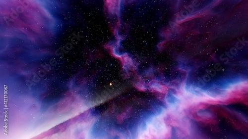 Fotografie, Tablou Nebula in space, space HDRI, epic space background 3d render