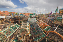 A Closeup Nautical Scene Of Stacks Of Fishing Net And Crab Traps At Whitby Marina On The North Yorkshire Coast, England.