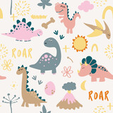 Fototapeta Dinusie - Dino friends. Funny cartoon dinosaurs, bones, and eggs. Cute t rex,  characters. Hand drawn vector doodle set for kids. Good for textiles, nursery, wallpapers, wrapping paper, clothes. Roar words