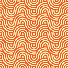 Geometric Circle Intersect Waves Seamless Pattern. Orange Background. Fabric Designs And Tiles Texture Pattern.