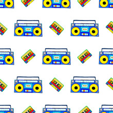 Seamless Vector Illustration With Bright Tape Recorders And Cassettes On A White Background.
