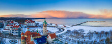 Beautiful Sunset Over The Snowy Beach And Pier (Molo) In Sopot At Winter. Poland