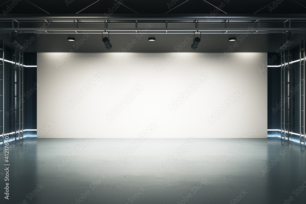 Fototapeta Big blank light screen instead of wall with projectors in empty industrial style hall room with glossy floor. Mockup. 3D rendering.