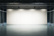 canvas print picture - Big blank light screen instead of wall with projectors in empty industrial style hall room with glossy floor. Mockup. 3D rendering.