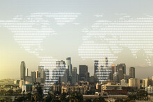 Multi Exposure Of Abstract Creative Digital World Map Hologram On Los Angeles Skyscrapers Background, Research And Analytics Concept